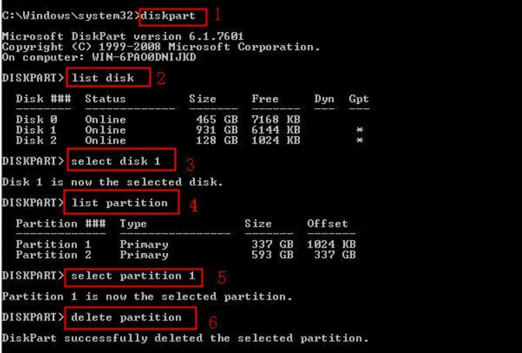 Delete Partition Windows 11/10 in Diskpart