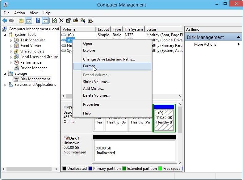 Format DVR Hard Drive with Windows Disk Management