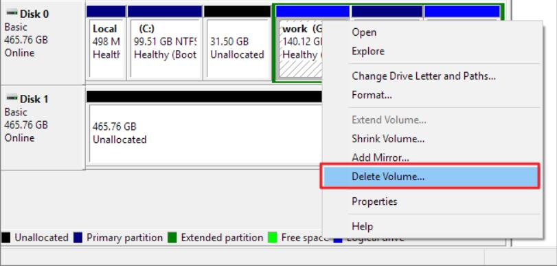 Remove Windows 11/10 Partition with Disk Management