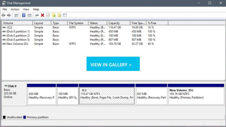 View partitions with Disk Management
